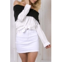 Sexy Off the Shoulder Long Sleeve Single Breasted Color Block Button Down Shirt