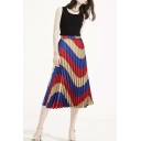 Color Block Wave Print Elastic Waist Midi Pleated Skirt