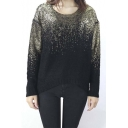 Hot Knitted Bronzing Sweater Gradient Loose Pullover Sweater with Back Slit