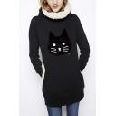 Women's Fashion Cute Cat Pattern Hooded Long Sweatshirt with Pocket
