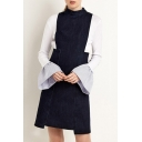 New Arrival Fashion Zipper Back High Waist Sleeveless Denim Dress