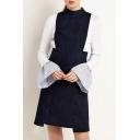 New Arrival Fashion Zipper Back High Waist Sleeveless Denim Dress