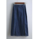 2016 Fall New Split Front High Waist Midi Denim Skirt