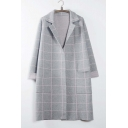 Fashion Plaid Notched Lapel Long Sleeve Longline Cardigan Open-Front Knitted Coat