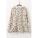 Cartoon Owl Print Long Sleeve Hooded Linen Coat