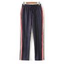 Mid Elastic Tied Waist Color Block Harem Pants
