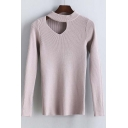 Fashion Slim Round Neck Cutout Long Sleeve Sweater