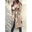 2016 Autumn New Fashion Notched Lapel Long Trench Coat Plus Size