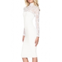 Women's Sexy Lace Yoke High Neck Long Sleeve Bodycon Midi Dress