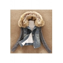 New Arrival Fashion Detachable Fur Collar Denim Coat