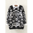 Women's Fashion Skull Print Long Sleeve Pullover Sweater