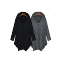 Zip Front Irregular Hem Long Sleeve Hoodie Coat with Double Pockets