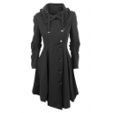 Notched Lapel Single Breasted Irregular Hem Coat