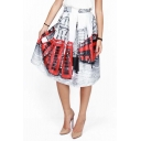New Arrival Stylish London Phone Booth Print High Waist A-line Skirt