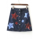 Fashion Embroidery Stars Print Single Breasted Denim A-Line Skirt