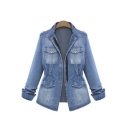 New Arrival Fashion Zipper Front Long Sleeve Denim Coat