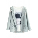 New Arrival Fashion Animal Pocket Long Sleeve Hooded Coat