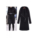 2016 New Arrival Stylish Fur Collar Zip Front Wool Coat