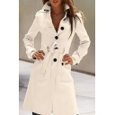 Fashion Lapel Long Sleeve Single Breasted Belt Waist Maxi Woolen Overcoat