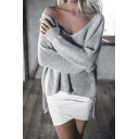 Sexy Loose V-Neck High Low Trim Long Sleeve Sweater