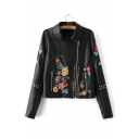 2016 New Style Zipper Placket Embroidery Floral Studded Lapel Long Sleeve Leather Jacket