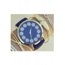 Cute Floral Print Leather Strap Quartz Wristwatch