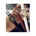 2016 Fashion Women's See Through Dial Leather Band Quartz Watch