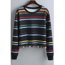 2016 Autumn New Style Fashion Tassel Hem Striped Pullover Cropped  Sweatshirt