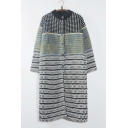 Women's Fashion Color Block Plaid Button Down Maxi Cardigan