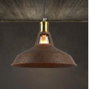 Retro Style 1 Light Mini Barn Pendant in Rust/Brown Finish