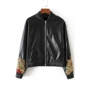 Stand-Up Collar Zipper Placket Embroidery Floral Pattern Leather Cloak Bomber Jacket