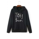 Trendy Letter Print Long Sleeve Tunic Pullover Hoodie with One Pocket