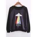 New Stylish Raglan Long Sleeve Alien Print Elastic Waist and Cuffs Sweatshirt
