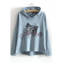 Fashion Cute Cat Print Dip Hem Hooded Loose Sweatshirt