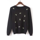 Embroidery Floral Print Round Neck Long Sleeve Sweater