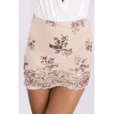 Sexy Mesh Embroidery Sequined Floral Print Bodycon Skirt