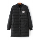 Fashion Abstract Face Patchwork Single-breasted Quilted Long Padded Coat