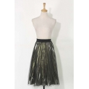 Fashion Mesh Metallic Elastic Waist Midi Pleated Skirt