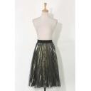 Fashion Mesh Metallic Elastic Waist Midi Pleated Skirt