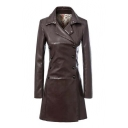 Trendy Notched Lapel Double Breasted Long Sleeve PU Tunic Coat