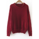 New Stylish Round Neck Long Sleeve Plain Cutout Trim Sweater