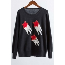 Beaded Embroidery Stars Pattern Round Neck Long Sleeve Sweater