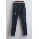 New Arrival Ripped Detail Skinny Jean