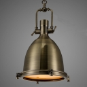 Industrial 1-Light Dome Shade Pendant Light Frost Glass Diffuser