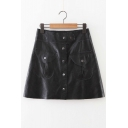 Trendy High Waist Single Breasted Double Pockets A-Line Skirt