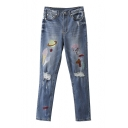 Mid Waist Embroidery Pattern Light Wash Ripped Jeans