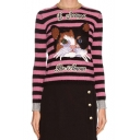 Fashion Round Neck Long Sleeve Striped Embroidery Cat Pattern Sweater