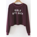 New Stylish Letter Print Round Neck Long Sleeve Cropped Pullover Sweater