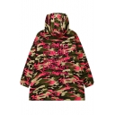 2016 Fashion Letter Camouflage Print Long Sleeve Zip Up Coat