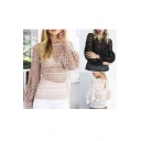 Fashion Lace Crochet Lantern Long Sleeve Cutout Back Blouse